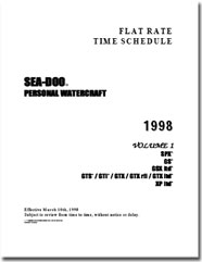 1998 SeaDoo Flat Rate Time Schedule