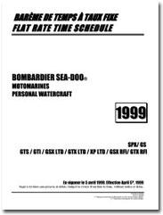 1999 SeaDoo Flat Rate Time Schedule