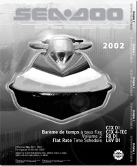 2002 SeaDoo Flat Rate Time Schedule