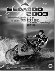 2003 SeaDoo Flat Rate Time Schedule